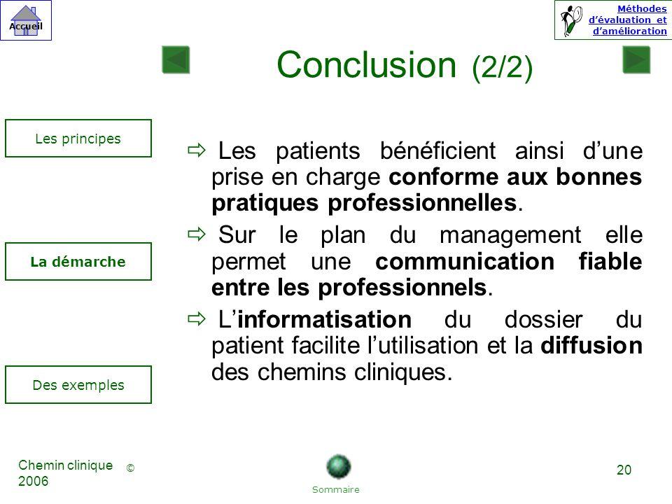 © Accueil Méthodes dévaluation et damélioration Chemin clinique 2006 20 Les patients bénéficient ainsi dune prise en charge conforme aux bonnes pratiques professionnelles.