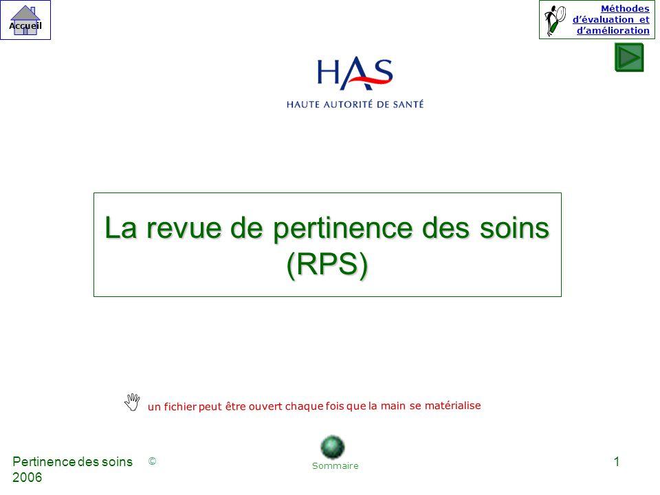 © Accueil Méthodes dévaluation et damélioration Pertinence des soins 2006 42 Référence 44 b : la pertinence des actes à risque est évaluée.
