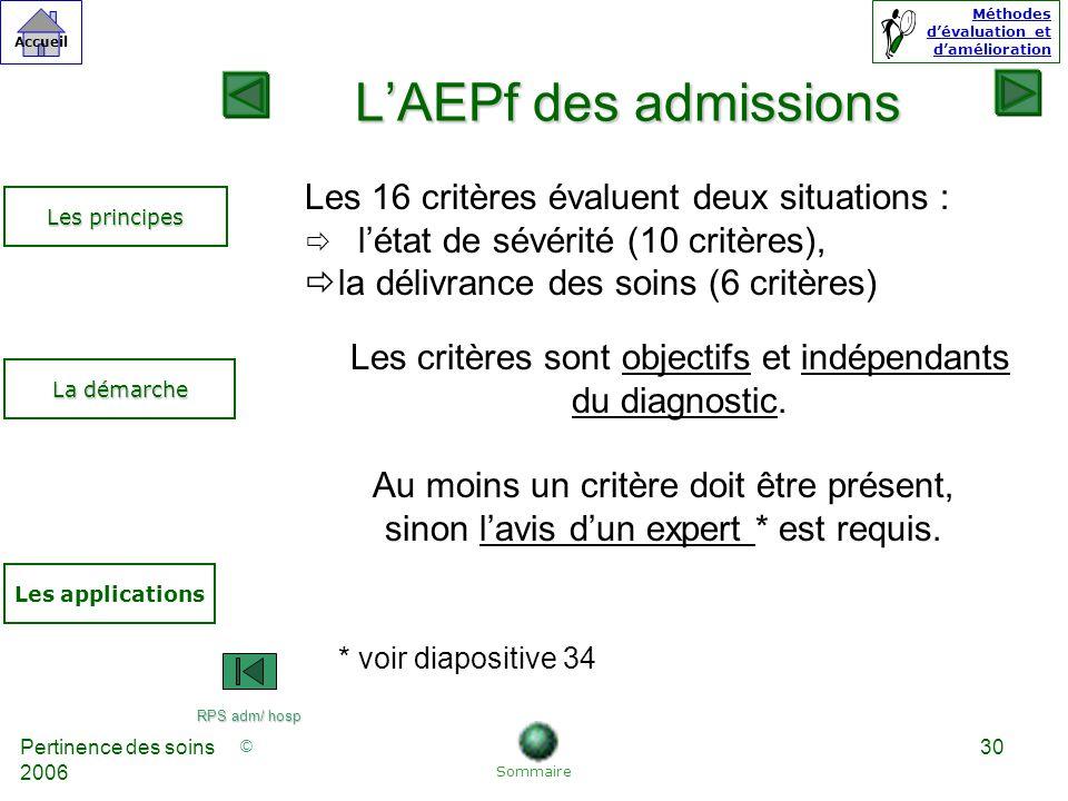 © Accueil Méthodes dévaluation et damélioration Pertinence des soins 2006 30 LAEPf des admissions Les 16 critères évaluent deux situations : létat de sévérité (10 critères), la délivrance des soins (6 critères) Les critères sont objectifs et indépendants du diagnostic.