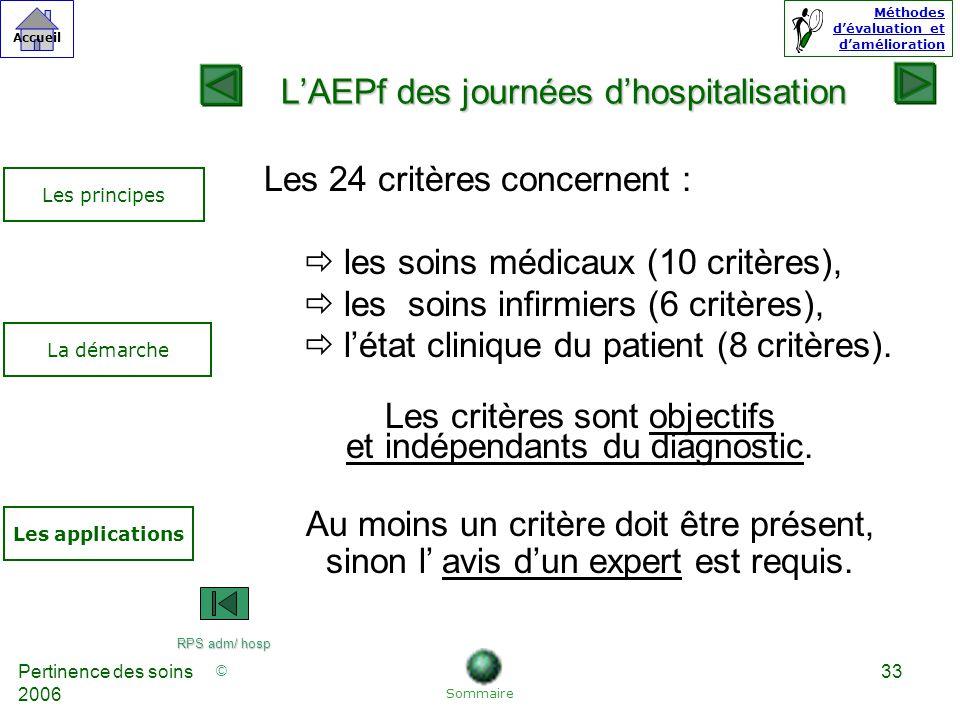 © Accueil Méthodes dévaluation et damélioration Pertinence des soins 2006 33 LAEPf des journées dhospitalisation Les 24 critères concernent : ðles soins médicaux (10 critères), ðles soins infirmiers (6 critères), ðlétat clinique du patient (8 critères).
