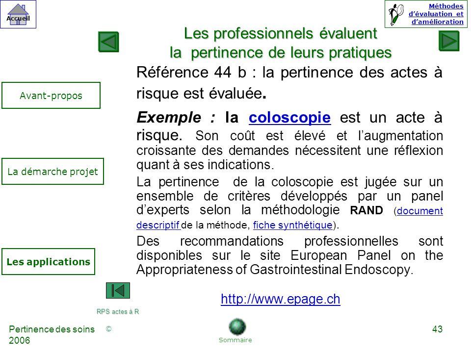© Accueil Méthodes dévaluation et damélioration Pertinence des soins 2006 43 Référence 44 b : la pertinence des actes à risque est évaluée.