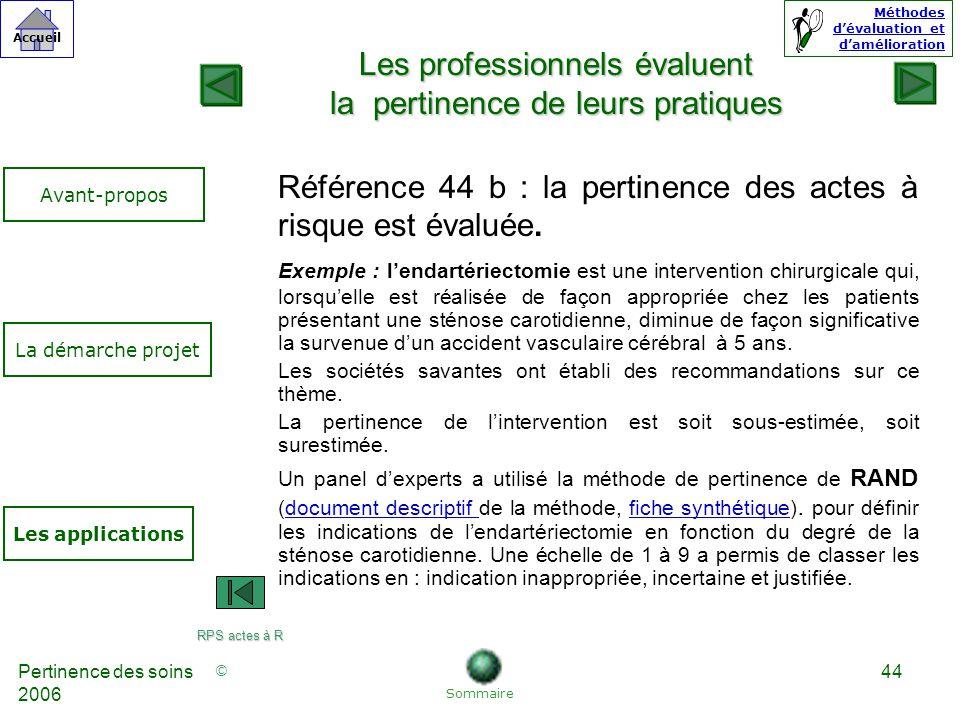 © Accueil Méthodes dévaluation et damélioration Pertinence des soins 2006 44 Référence 44 b : la pertinence des actes à risque est évaluée.