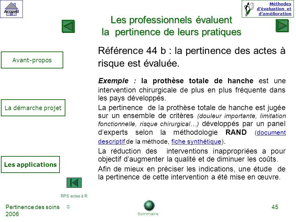 © Accueil Méthodes dévaluation et damélioration Pertinence des soins 2006 45 Référence 44 b : la pertinence des actes à risque est évaluée.