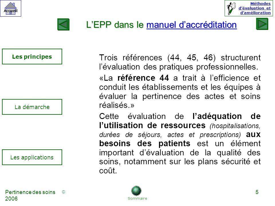 © Accueil Méthodes dévaluation et damélioration Pertinence des soins 2006 5 Trois références (44, 45, 46) structurent lévaluation des pratiques professionnelles.