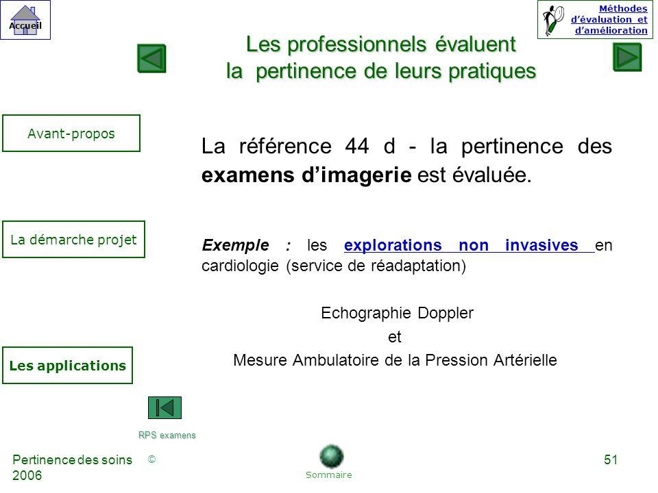 © Accueil Méthodes dévaluation et damélioration Pertinence des soins 2006 51 La référence 44 d - la pertinence des examens dimagerie est évaluée.