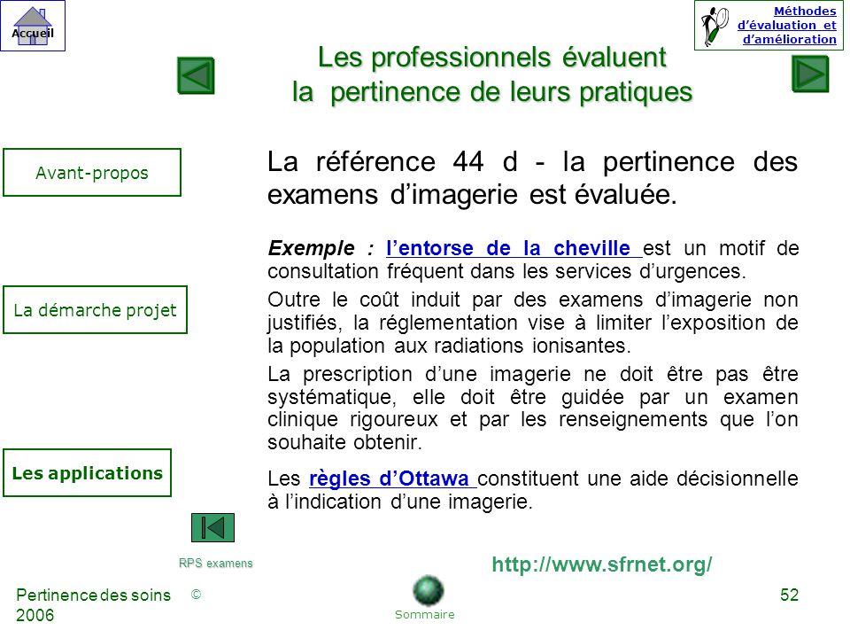 © Accueil Méthodes dévaluation et damélioration Pertinence des soins 2006 52 La référence 44 d - la pertinence des examens dimagerie est évaluée.