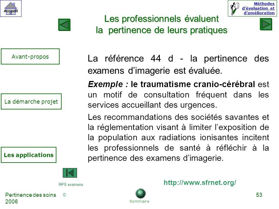 © Accueil Méthodes dévaluation et damélioration Pertinence des soins 2006 53 La référence 44 d - la pertinence des examens dimagerie est évaluée.
