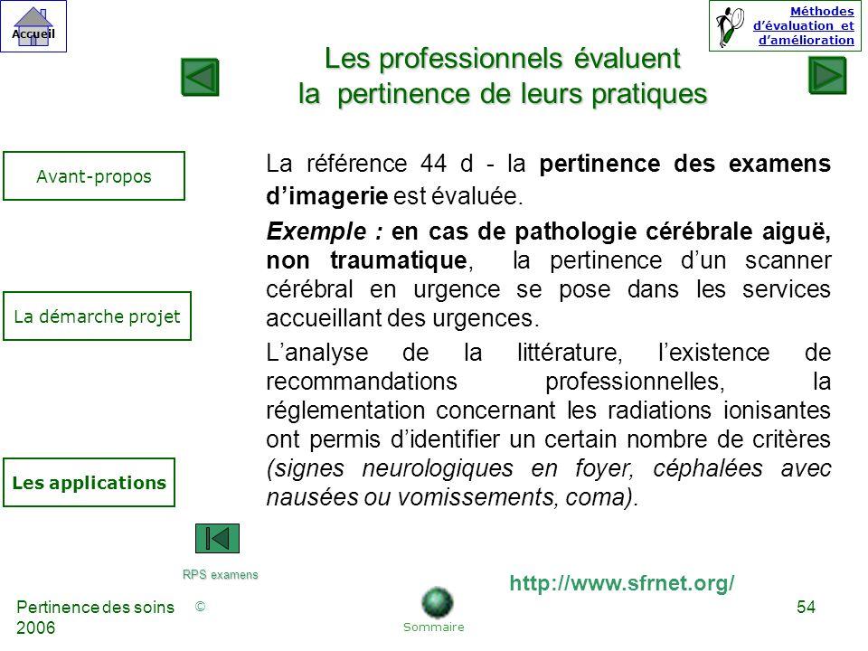 © Accueil Méthodes dévaluation et damélioration Pertinence des soins 2006 54 La référence 44 d - la pertinence des examens dimagerie est évaluée.
