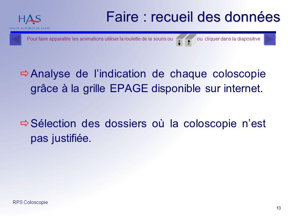 RPS Coloscopie 13 Faire : recueil des données Analyse de lindication de chaque coloscopie grâce à la grille EPAGE disponible sur internet. Sélection d
