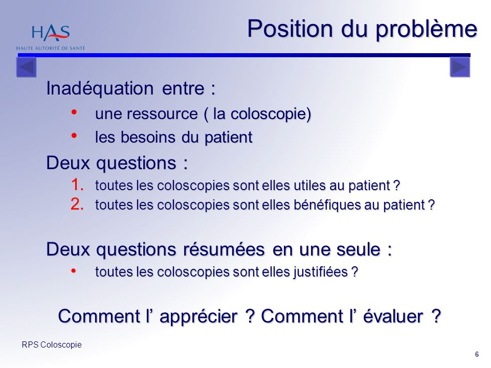 RPS Coloscopie 6 Position du problème Inadéquation entre : une ressource ( la coloscopie) une ressource ( la coloscopie) les besoins du patient les be