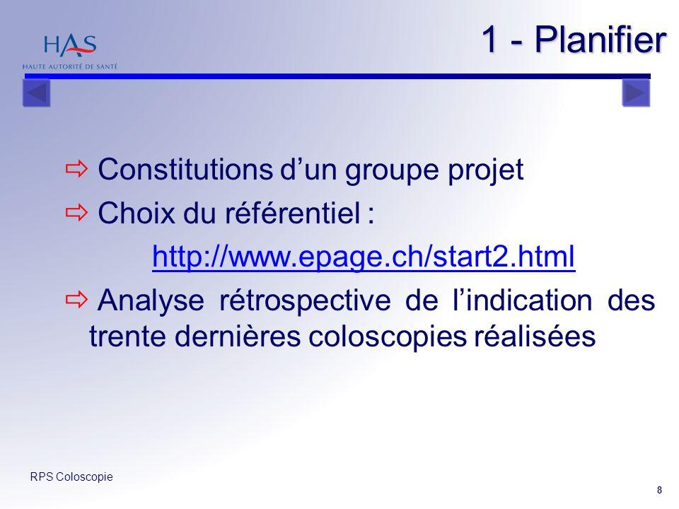 RPS Coloscopie 8 1 - Planifier 1 - Planifier Constitutions dun groupe projet Choix du référentiel : http://www.epage.ch/start2.html Analyse rétrospect