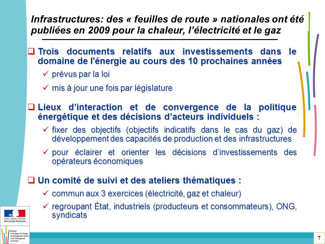 7 Infrastructures: des « feuilles de route » nationales ont été publiées en 2009 pour la chaleur, lélectricité et le gaz Trois documents relatifs aux