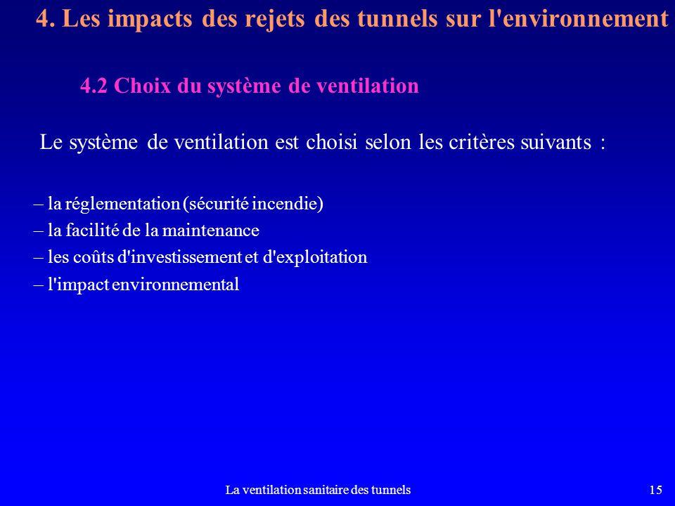 La ventilation sanitaire des tunnels15 Le système de ventilation est choisi selon les critères suivants : – la réglementation (sécurité incendie) – la facilité de la maintenance – les coûts d investissement et d exploitation – l impact environnemental 4.2 Choix du système de ventilation 4.