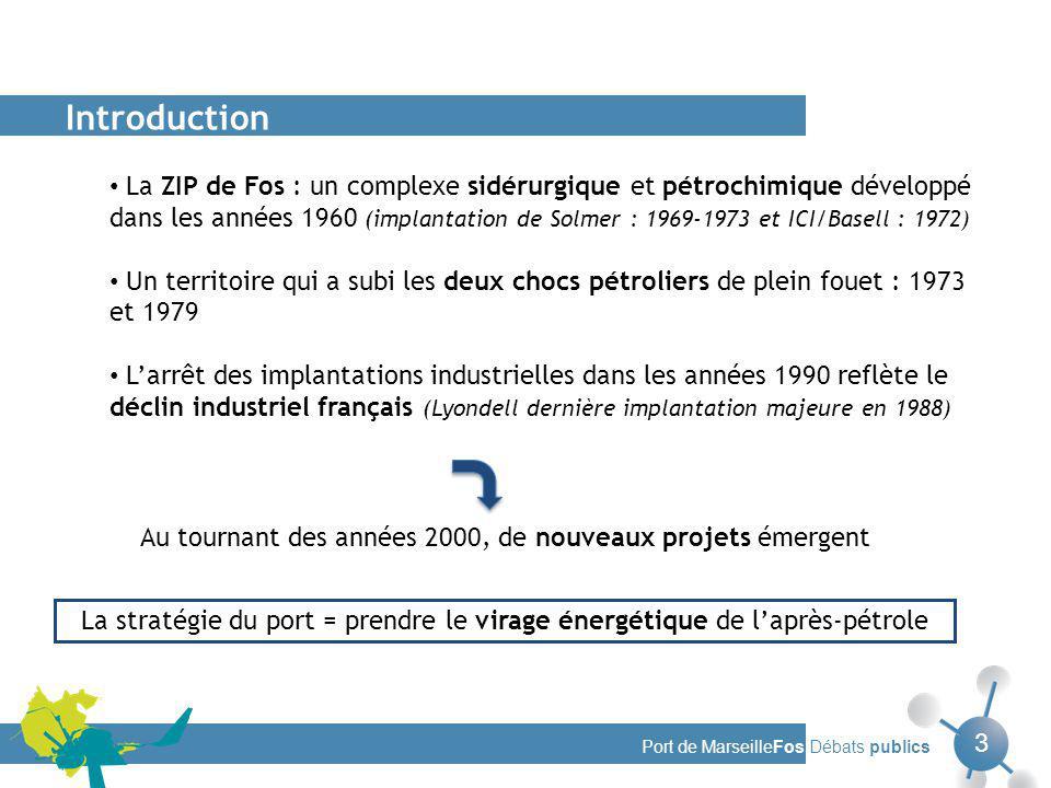 Port de MarseilleFos Débats publics 3 La ZIP de Fos : un complexe sidérurgique et pétrochimique développé dans les années 1960 (implantation de Solmer : 1969-1973 et ICI/Basell : 1972) Un territoire qui a subi les deux chocs pétroliers de plein fouet : 1973 et 1979 Larrêt des implantations industrielles dans les années 1990 reflète le déclin industriel français (Lyondell dernière implantation majeure en 1988) Introduction La stratégie du port = prendre le virage énergétique de laprès-pétrole Au tournant des années 2000, de nouveaux projets émergent