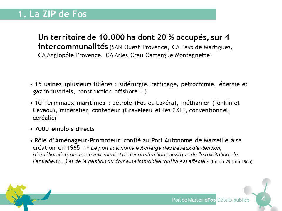 Port de MarseilleFos Débats publics 4 Un territoire de 10.000 ha dont 20 % occupés, sur 4 intercommunalités (SAN Ouest Provence, CA Pays de Martigues, CA Agglopôle Provence, CA Arles Crau Camargue Montagnette) 1.