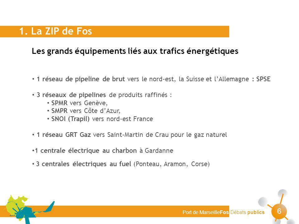 Port de MarseilleFos Débats publics 6 Les grands équipements liés aux trafics énergétiques 1. La ZIP de Fos 1 réseau de pipeline de brut vers le nord-