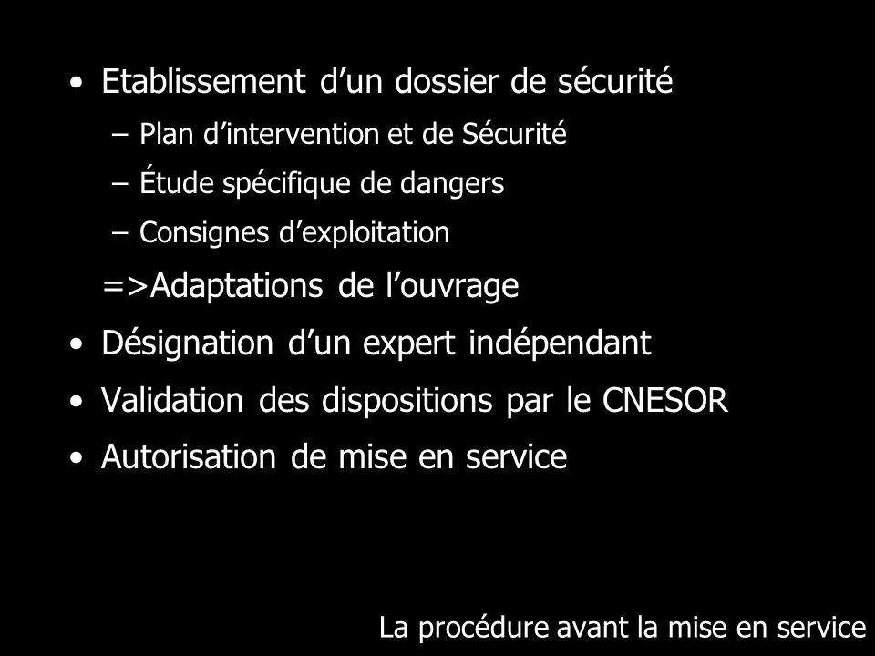La procédure avant la mise en service Etablissement dun dossier de sécurité –Plan dintervention et de Sécurité –Étude spécifique de dangers –Consignes