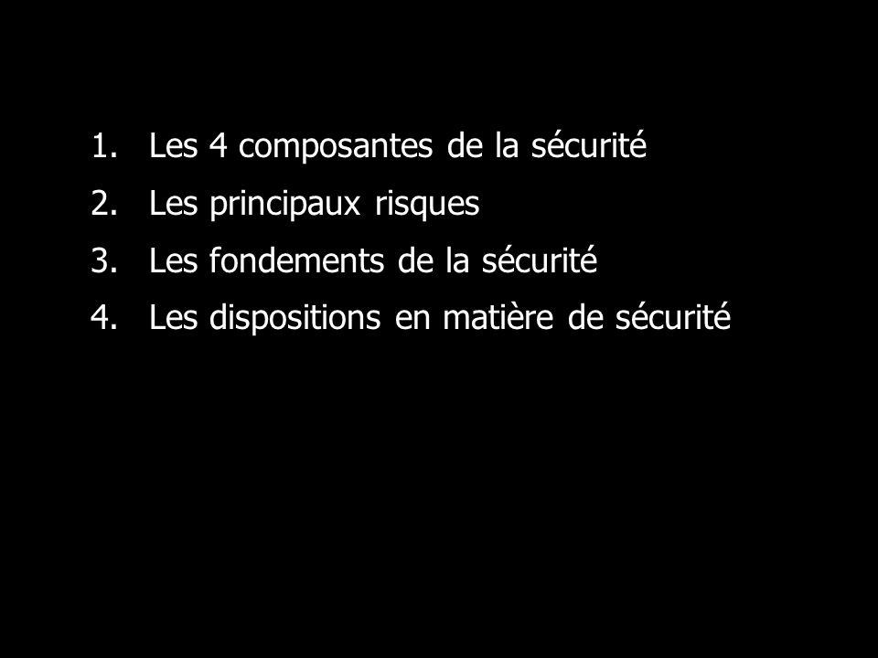 1.Les 4 composantes de la sécurité 2.Les principaux risques 3.Les fondements de la sécurité 4.Les dispositions en matière de sécurité