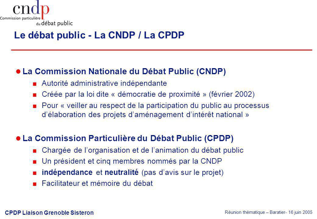 Réunion thématique – Baratier- 16 juin 2005 CPDP Liaison Grenoble Sisteron Le débat public - La CNDP / La CPDP La Commission Nationale du Débat Public