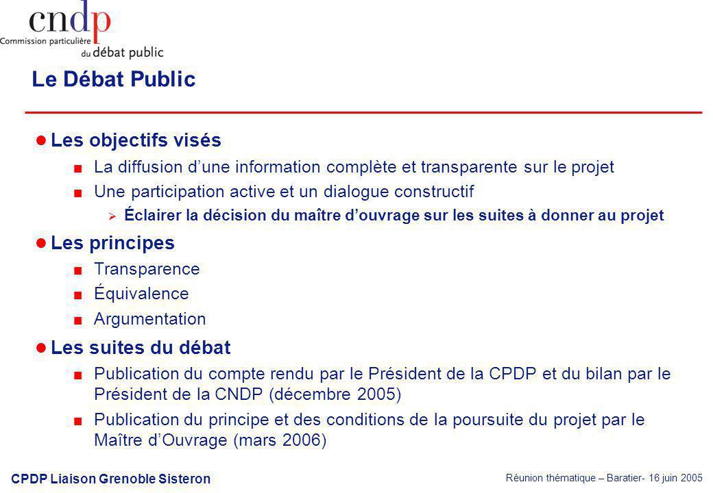 Réunion thématique – Baratier- 16 juin 2005 CPDP Liaison Grenoble Sisteron Le Débat Public Les objectifs visés La diffusion dune information complète