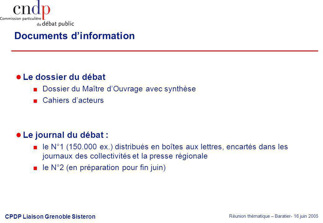 Réunion thématique – Baratier- 16 juin 2005 CPDP Liaison Grenoble Sisteron Documents dinformation Le dossier du débat Dossier du Maître dOuvrage avec
