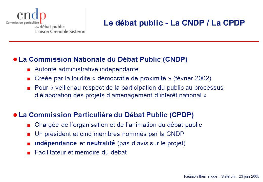 Réunion thématique – Sisteron – 23 juin 2005 Le débat public - La CNDP / La CPDP La Commission Nationale du Débat Public (CNDP) Autorité administrativ