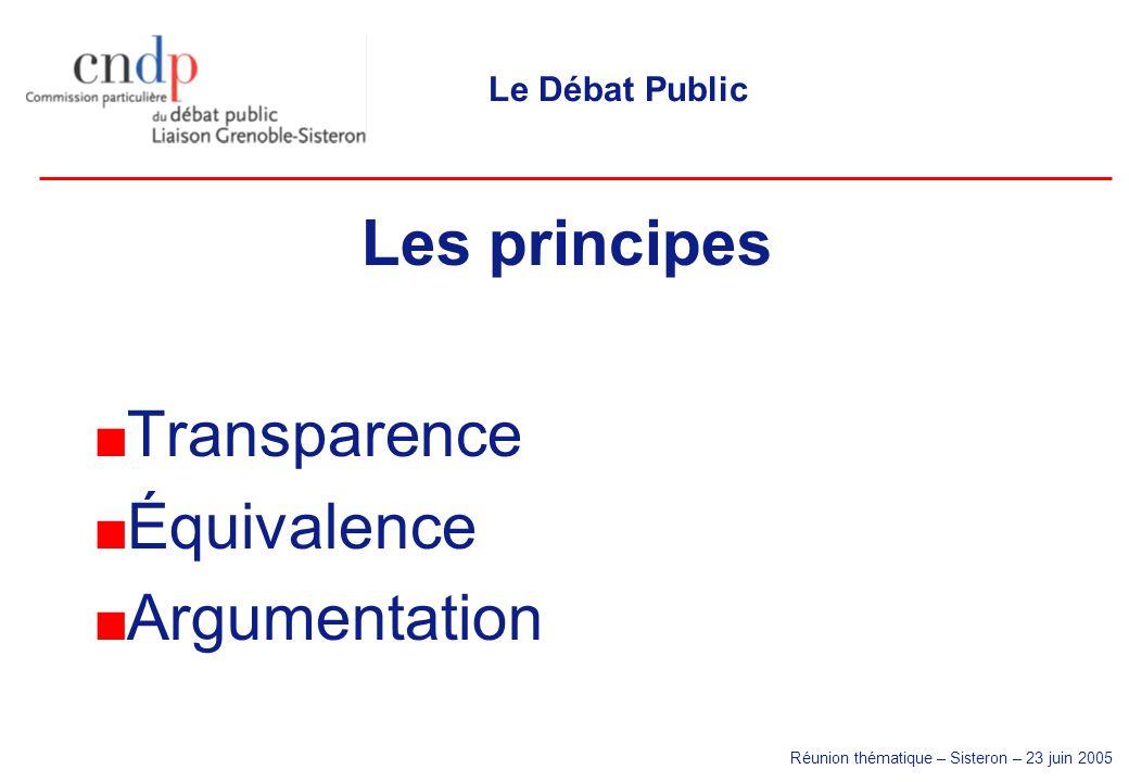 Réunion thématique – Sisteron – 23 juin 2005 Le Débat Public Les principes Transparence Équivalence Argumentation