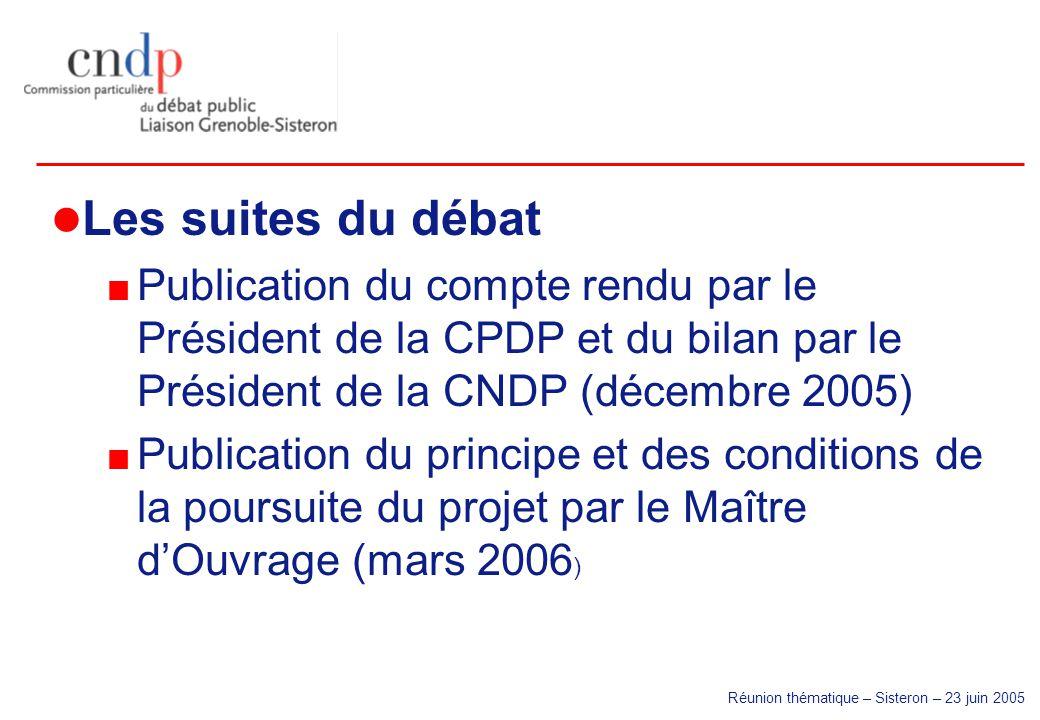 Réunion thématique – Sisteron – 23 juin 2005 Les suites du débat Publication du compte rendu par le Président de la CPDP et du bilan par le Président
