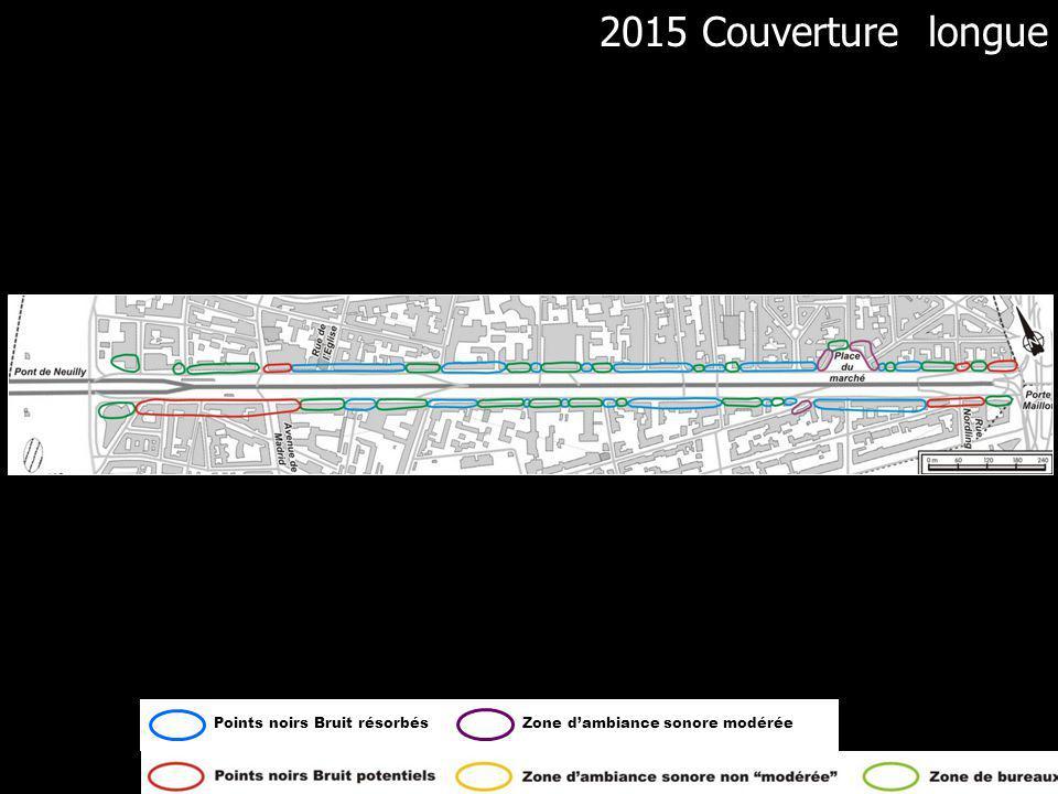 Bruit couverture courte 2015 2015 Couverture longue 2004 Couverture longue Points noirs Bruit résorbésZone dambiance sonore modéréePoints noirs Bruit