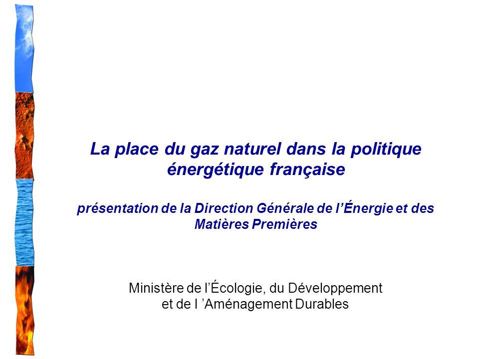 La place du gaz naturel dans la politique énergétique française présentation de la Direction Générale de lÉnergie et des Matières Premières Ministère