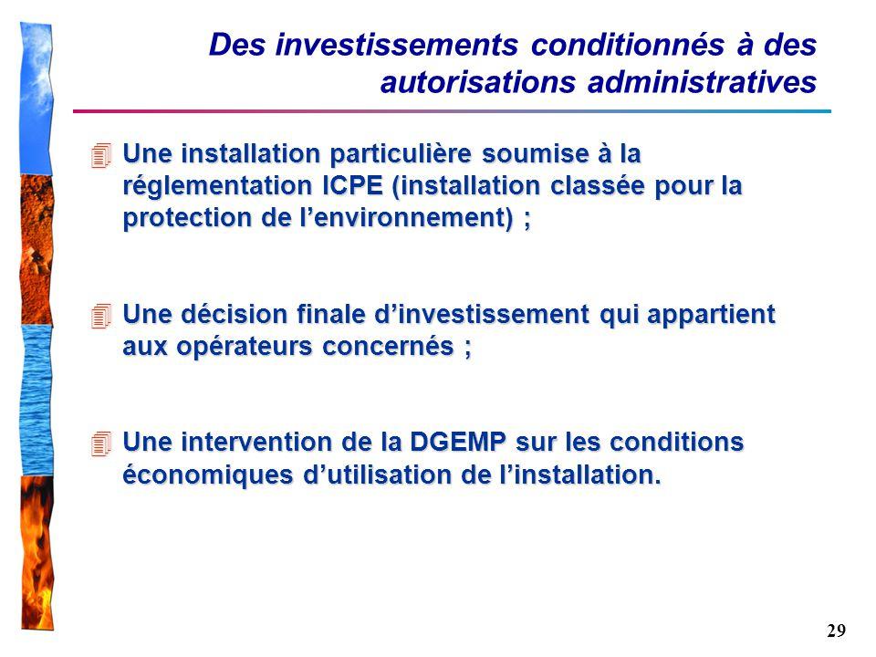 29 Des investissements conditionnés à des autorisations administratives 4Une installation particulière soumise à la réglementation ICPE (installation