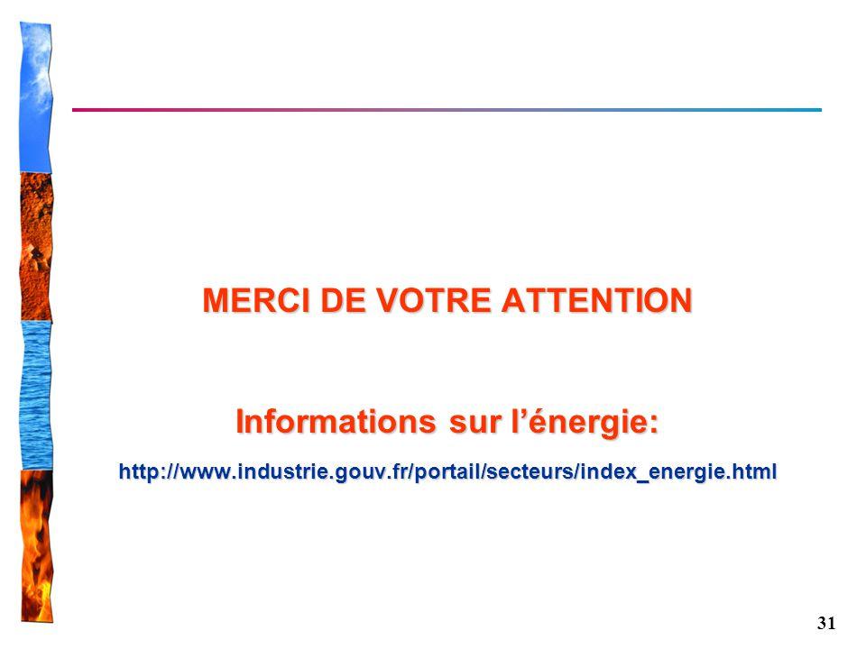 31 MERCI DE VOTRE ATTENTION Informations sur lénergie: http://www.industrie.gouv.fr/portail/secteurs/index_energie.html
