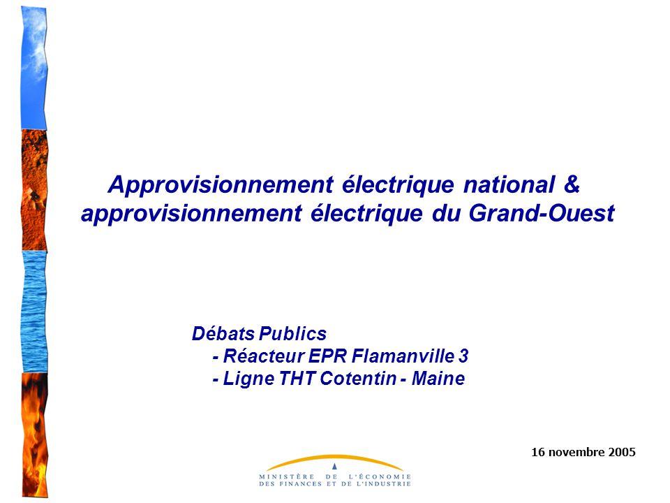 Approvisionnement électrique national & approvisionnement électrique du Grand-Ouest 16 novembre 2005 Débats Publics - Réacteur EPR Flamanville 3 - Ligne THT Cotentin - Maine
