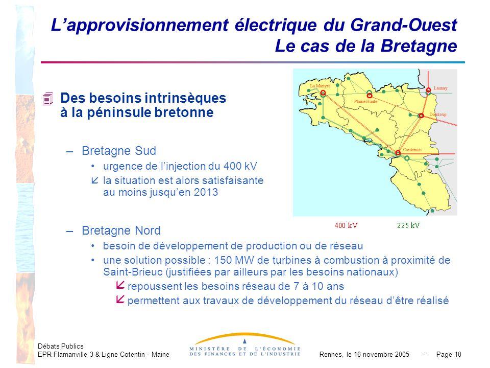 Débats Publics EPR Flamanville 3 & Ligne Cotentin - MaineRennes, le 16 novembre 2005 - Page 10 Lapprovisionnement électrique du Grand-Ouest Le cas de la Bretagne 4Des besoins intrinsèques à la péninsule bretonne –Bretagne Sud urgence de linjection du 400 kV åla situation est alors satisfaisante au moins jusquen 2013 –Bretagne Nord besoin de développement de production ou de réseau une solution possible : 150 MW de turbines à combustion à proximité de Saint-Brieuc (justifiées par ailleurs par les besoins nationaux) å repoussent les besoins réseau de 7 à 10 ans å permettent aux travaux de développement du réseau dêtre réalisé
