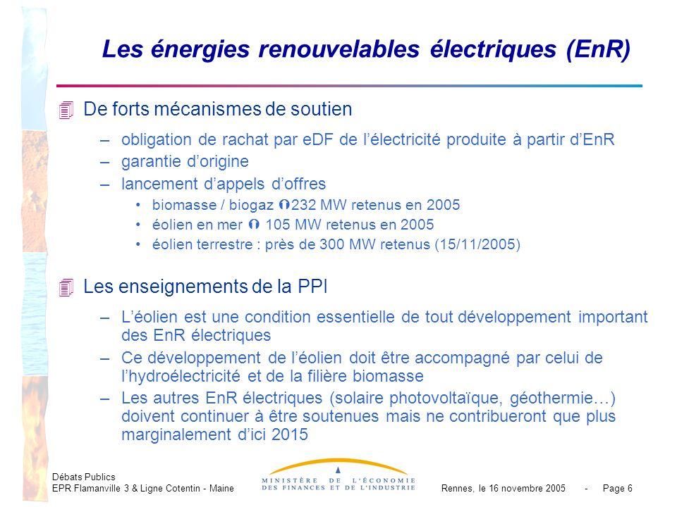 Débats Publics EPR Flamanville 3 & Ligne Cotentin - MaineRennes, le 16 novembre 2005 - Page 6 Les énergies renouvelables électriques (EnR) 4De forts mécanismes de soutien –obligation de rachat par eDF de lélectricité produite à partir dEnR –garantie dorigine –lancement dappels doffres biomasse / biogaz 232 MW retenus en 2005 éolien en mer 105 MW retenus en 2005 éolien terrestre : près de 300 MW retenus (15/11/2005) 4Les enseignements de la PPI –Léolien est une condition essentielle de tout développement important des EnR électriques –Ce développement de léolien doit être accompagné par celui de lhydroélectricité et de la filière biomasse –Les autres EnR électriques (solaire photovoltaïque, géothermie…) doivent continuer à être soutenues mais ne contribueront que plus marginalement dici 2015