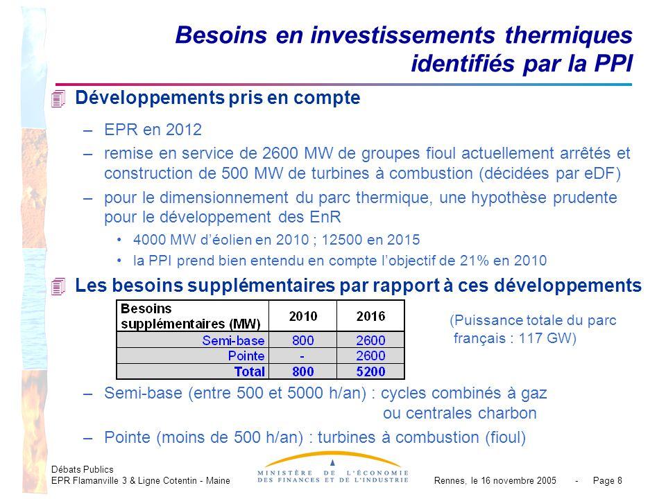 Débats Publics EPR Flamanville 3 & Ligne Cotentin - MaineRennes, le 16 novembre 2005 - Page 8 4Développements pris en compte –EPR en 2012 –remise en service de 2600 MW de groupes fioul actuellement arrêtés et construction de 500 MW de turbines à combustion (décidées par eDF) –pour le dimensionnement du parc thermique, une hypothèse prudente pour le développement des EnR 4000 MW déolien en 2010 ; 12500 en 2015 la PPI prend bien entendu en compte lobjectif de 21% en 2010 4Les besoins supplémentaires par rapport à ces développements (Puissance totale du parc français : 117 GW) –Semi-base (entre 500 et 5000 h/an) : cycles combinés à gaz ou centrales charbon –Pointe (moins de 500 h/an) : turbines à combustion (fioul) Besoins en investissements thermiques identifiés par la PPI