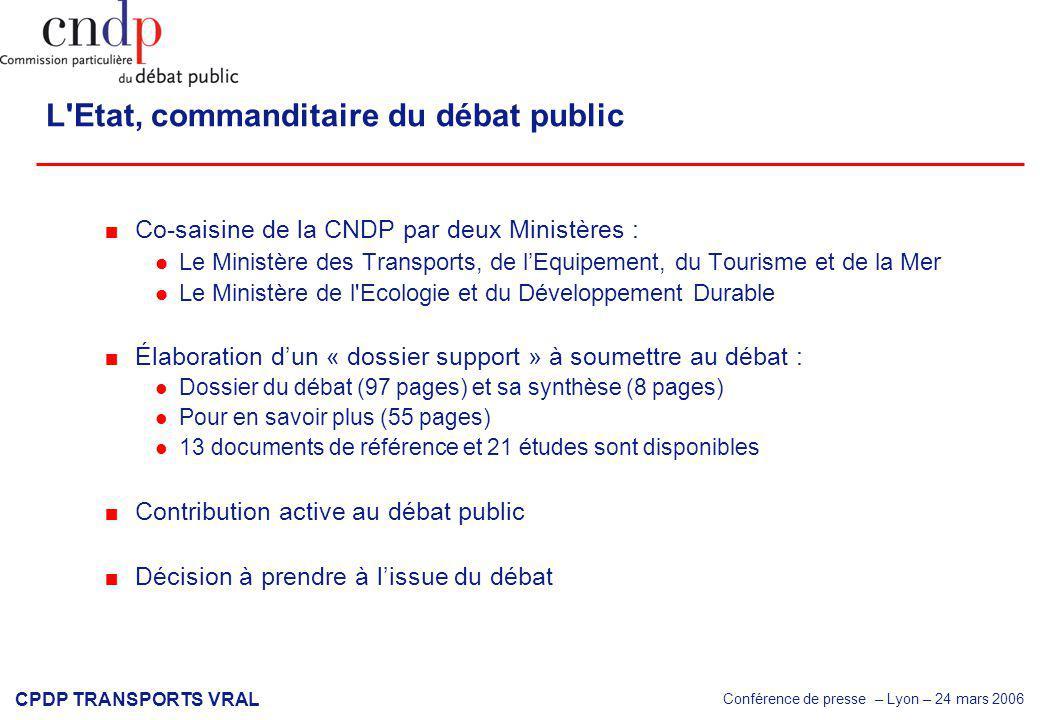 Conférence de presse – Lyon – 24 mars 2006 CPDP TRANSPORTS VRAL Conférence de presse Marseille – 23 mars 2006 Politique des transports dans la vallée du Rhône et l arc languedocien
