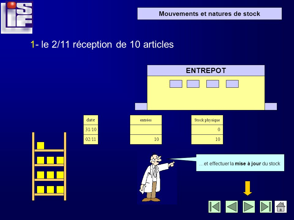 Mouvements et natures de stock 1- le 2/11 réception de 10 articles ENTREPOT Je peux maintenant ranger les produits réceptionnés à leur emplacement…