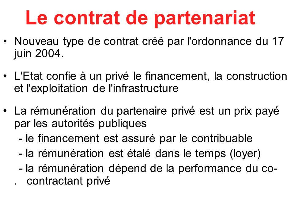 Le contrat de partenariat Nouveau type de contrat créé par l ordonnance du 17 juin 2004.