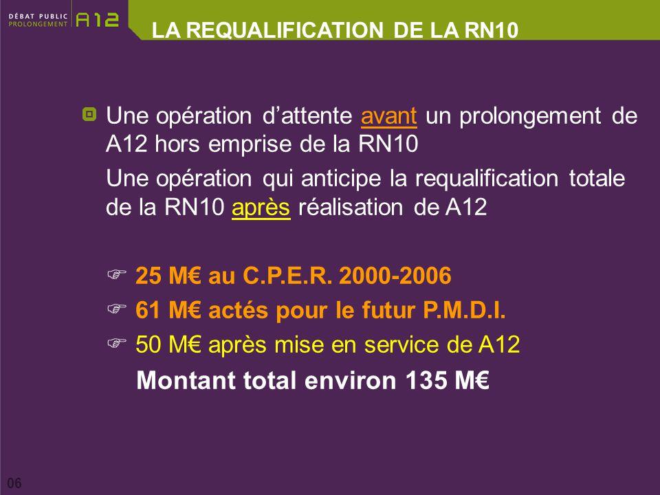 LA REQUALIFICATION DE LA RN10 06 Une opération dattente avant un prolongement de A12 hors emprise de la RN10 Une opération qui anticipe la requalification totale de la RN10 après réalisation de A12 25 M au C.P.E.R.