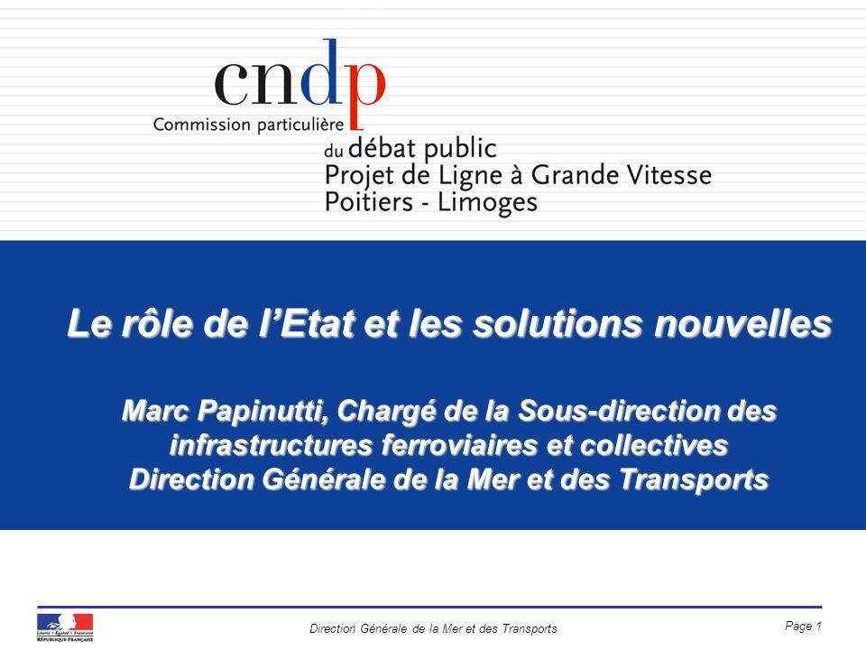 Direction Générale de la Mer et des Transports Page 1 Le rôle de lEtat et les solutions nouvelles Marc Papinutti, Chargé de la Sous-direction des infr