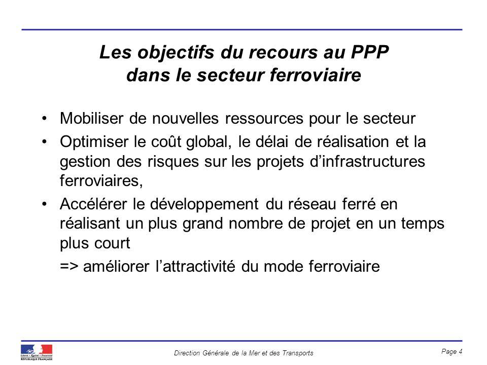 Direction Générale de la Mer et des Transports Page 4 Les objectifs du recours au PPP dans le secteur ferroviaire Mobiliser de nouvelles ressources po
