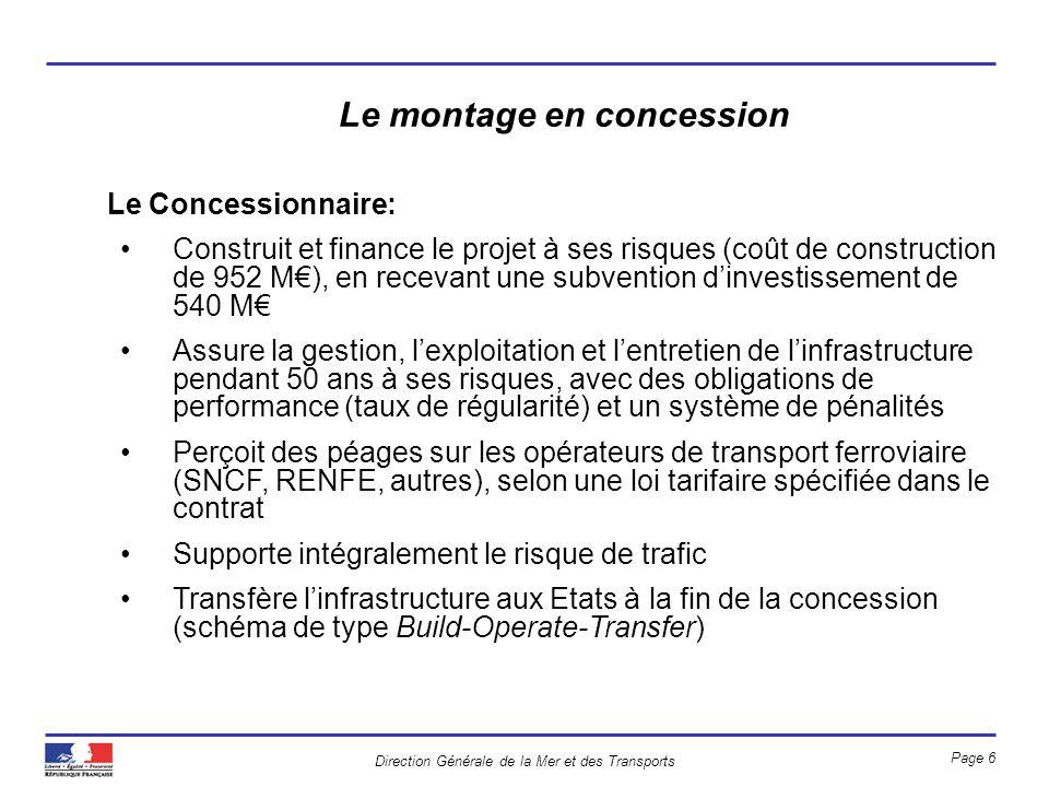 Direction Générale de la Mer et des Transports Page 6 Le montage en concession Le Concessionnaire: Construit et finance le projet à ses risques (coût