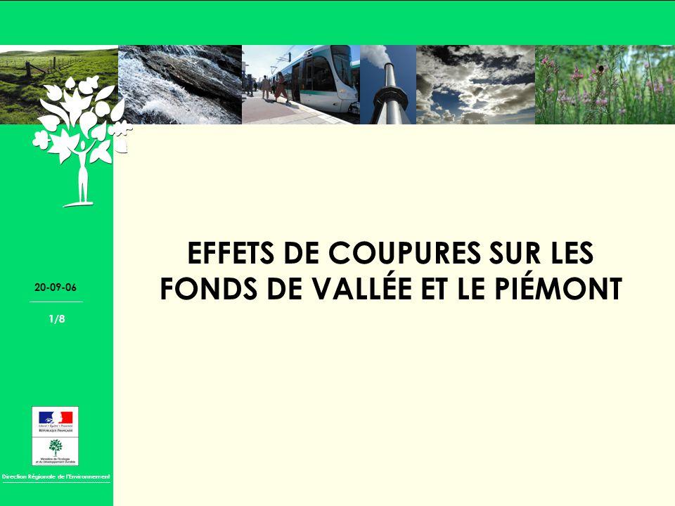 Direction Régionale de lEnvironnement 20-09-06 1/8 EFFETS DE COUPURES SUR LES FONDS DE VALLÉE ET LE PIÉMONT