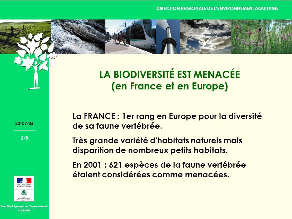 Direction Régionale de lEnvironnement DIRECTION REGIONALE DE LENVIRONNEMENT AQUITAINE AQUITAINE 20-09-06 2/8 LA BIODIVERSITÉ EST MENACÉE (en France et en Europe) La FRANCE : 1er rang en Europe pour la diversité de sa faune vertébrée.