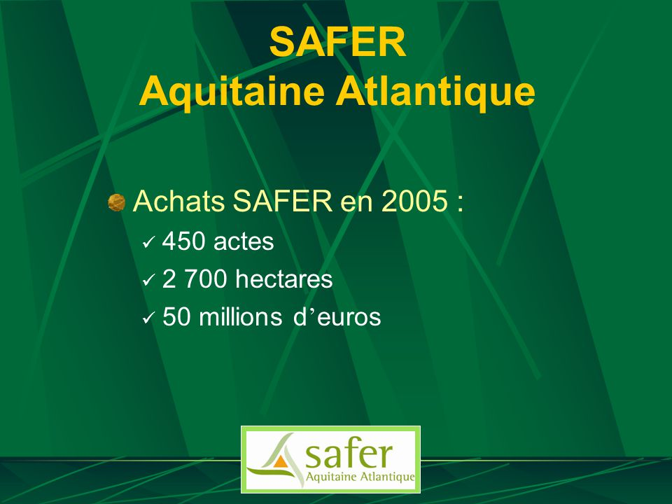 SAFER Aquitaine Atlantique Achats SAFER en 2005 : 450 actes 2 700 hectares 50 millions d euros