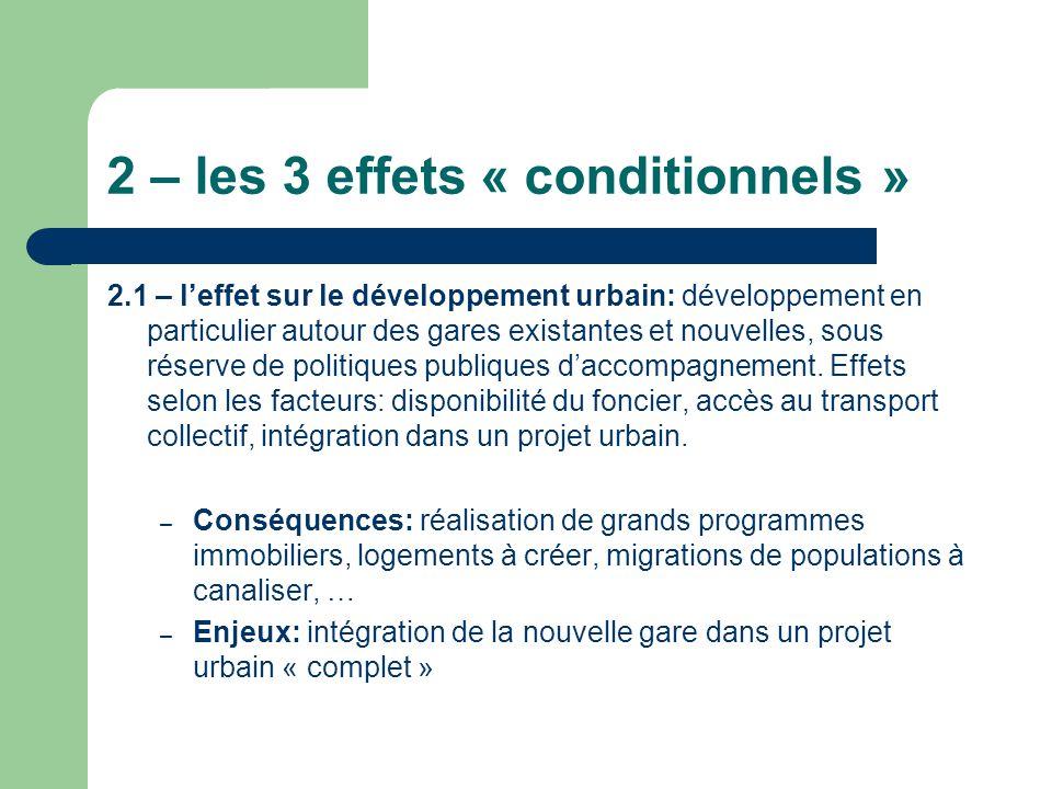 2 – les 3 effets « conditionnels » 2.1 – leffet sur le développement urbain: développement en particulier autour des gares existantes et nouvelles, so