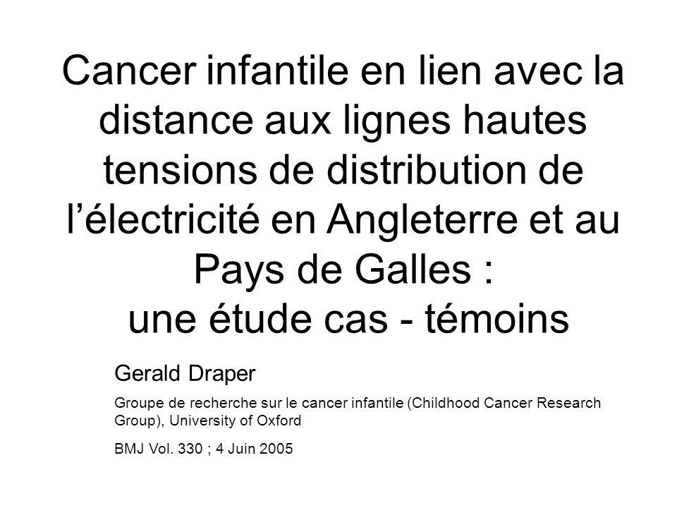 Cancer infantile en lien avec la distance aux lignes hautes tensions de distribution de lélectricité en Angleterre et au Pays de Galles : une étude cas - témoins Gerald Draper Groupe de recherche sur le cancer infantile (Childhood Cancer Research Group), University of Oxford BMJ Vol.