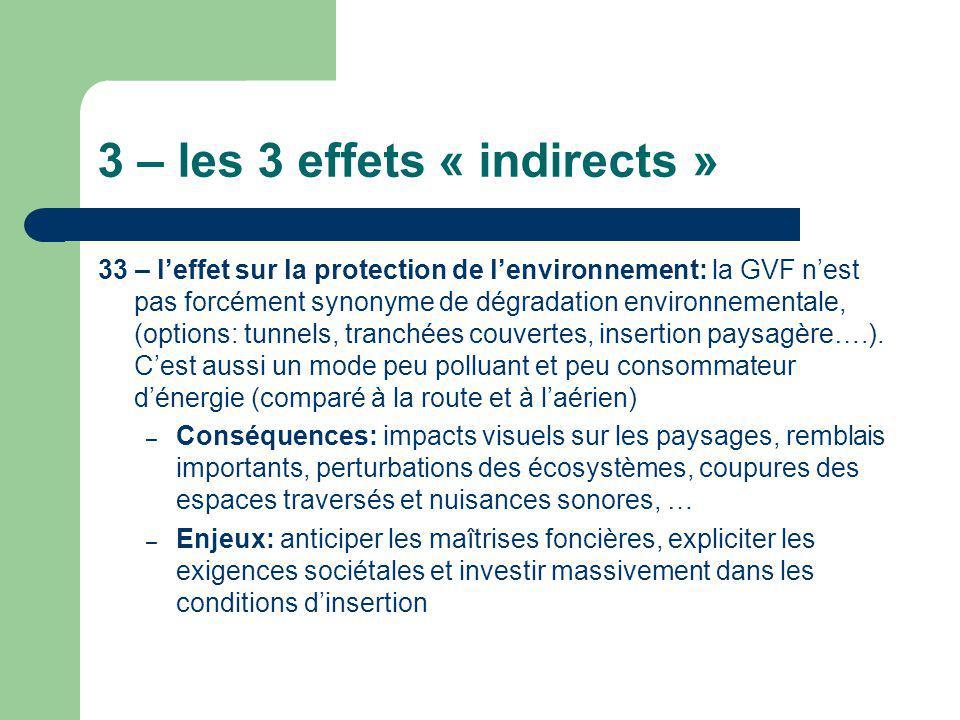 3 – les 3 effets « indirects » 33 – leffet sur la protection de lenvironnement: la GVF nest pas forcément synonyme de dégradation environnementale, (o