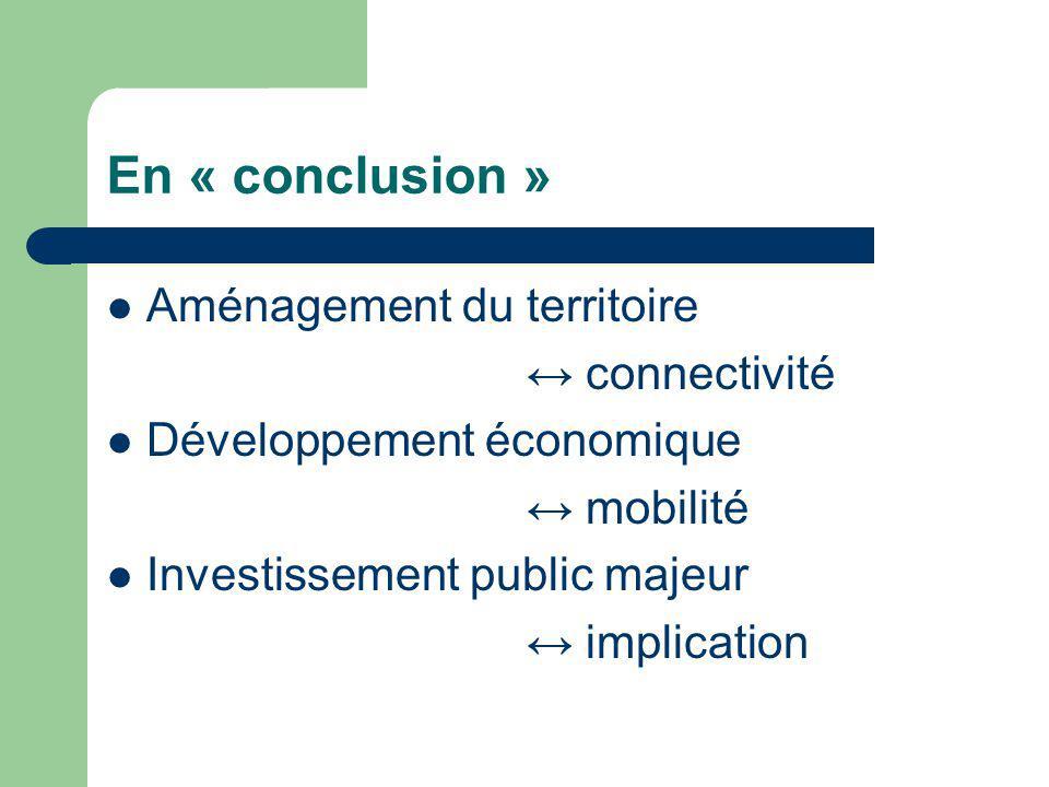En « conclusion » Aménagement du territoire connectivité Développement économique mobilité Investissement public majeur implication